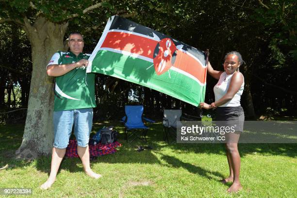 Kenya fans show their support during the ICC U19 Cricket World Cup match between the West Indies and Kenya at Lincoln Oval on January 20 2018 in...