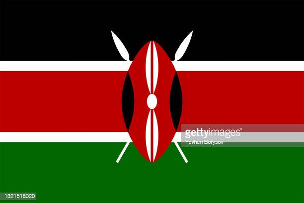 kenya flag simple illustration for independence day or election - kenya stock pictures, royalty-free photos & images