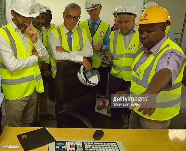 A Kenya Generating Company plant engineer gives an operational brief on September 9 2015 to visiting French Senators Herve Maurey Ronan Dantec and...