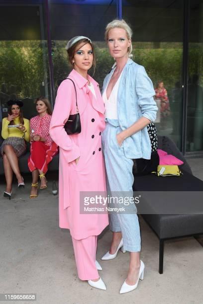 Kenya Kinski Jones and Caroline Winberg at the Marc Cain fashion show during the Berlin Fashion Week Spring/Summer 2020 at Velodrom on July 02 2019...