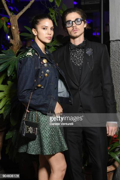Kenya KinskiJones and Will Peltz attend the Dolce Gabbana Unexpected Show during Milan Men's Fashion Week Fall/Winter 2018/19 on January 13 2018 in...