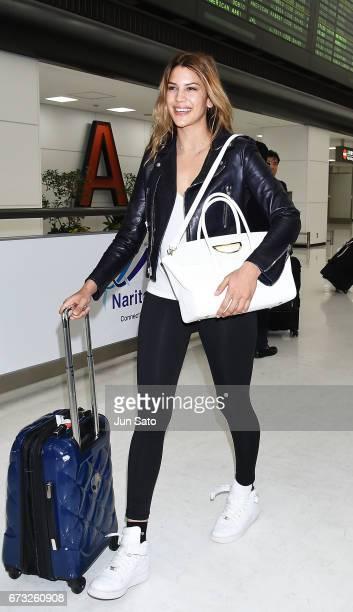 Kenya KinskiJones is seen upon arrival at the Narita International Airport on April 26 2017 in Narita Japan