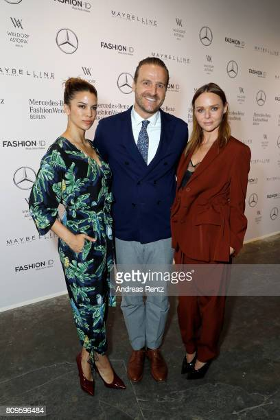 Kenya KinskiJones John Cloppenburg and Stella McCartney attend the 'Designer for Tomorrow' show during the MercedesBenz Fashion Week Berlin...