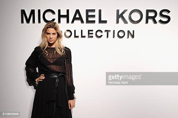 Kenya KinskiJones poses backstage at the Michael Kors Fall 2016 Runway Show during New York Fashion Week The Shows at Spring Studios on February 17...