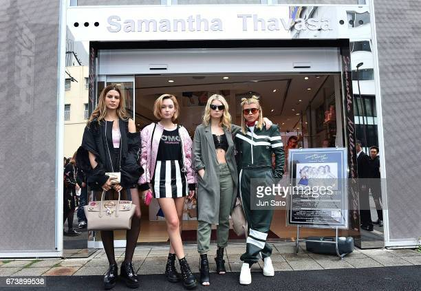 Kenya KinskiJones Sarah Snyder Lottie Moss and Sofia Richie visits at Samantha Thavasa Popup Digital Omotesando Store on April 27 2017 in Tokyo Japan