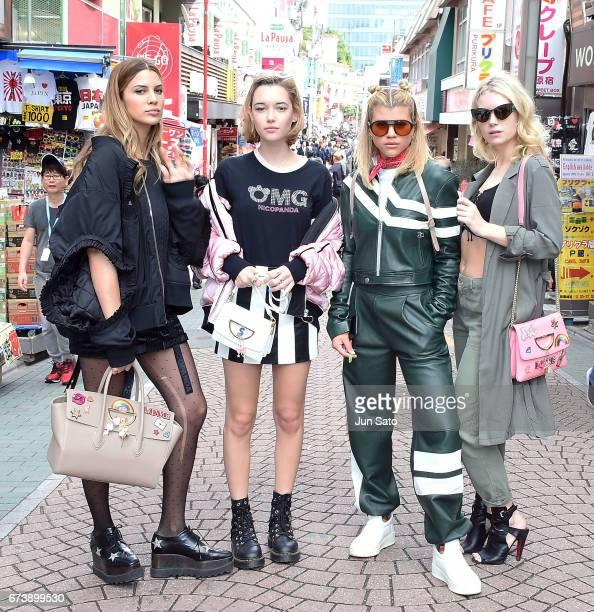 Kenya KinskiJones Sarah Snyder Sofia Richie and Lottie Moss sighting Harajuku street on April 27 2017 in Tokyo Japan