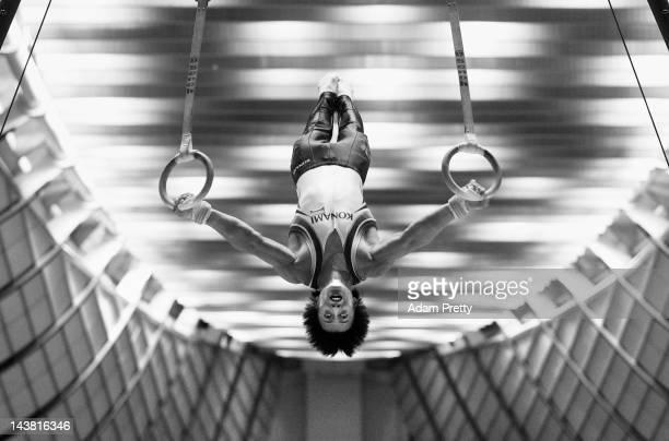 Kenya Kobayashi of Japan performs his rings routine during day one of the 51st Artistic Gymnastics NHK Trophy at Yoyogi National Gymnasium on May 4...