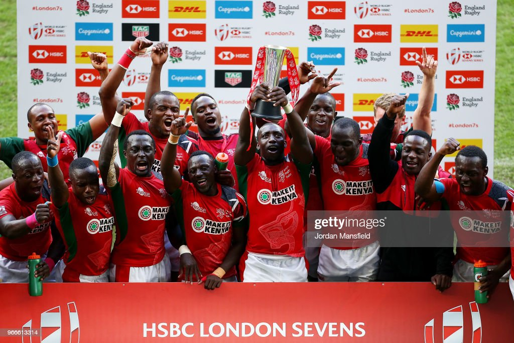 Kenya lift the trophy after winning hte Challenge Tophy Final match between Kenya and Wales on day two of the HSBC London Sevens at Twickenham Stadium on June 3, 2018 in London, United Kingdom.