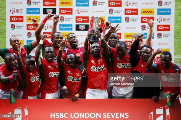 Kenya lift the trophy after winning hte Challenge Tophy Final match between Kenya and Wales on day two of the HSBC London Sevens at Twickenham...