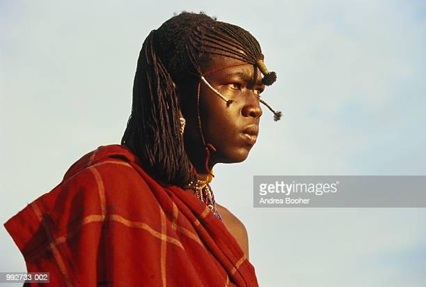 Kenya, Masai Mara, Masai Warrior in native dress