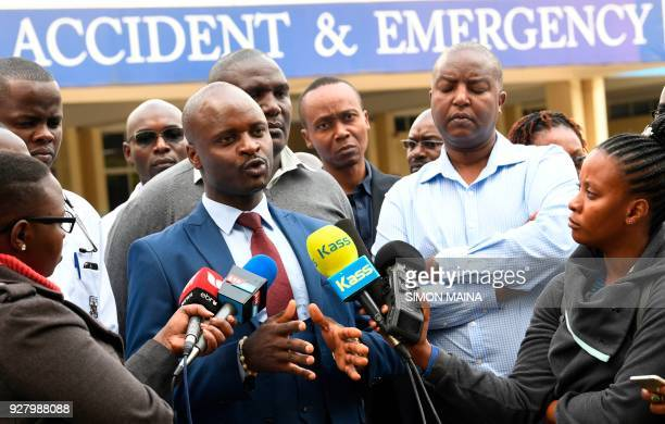 Kenya Medical Practitioners Pharmacists and Dentists Union chairperson Samuel Oroko speaks to the media n March 6 2018 at the Kenyatta National...