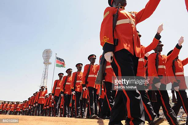 Kenya Military personel march at the Nyayo National Stadium in Nairobi on December 12 2008 for Jamhuri day the celebration of 45 years of self rule...