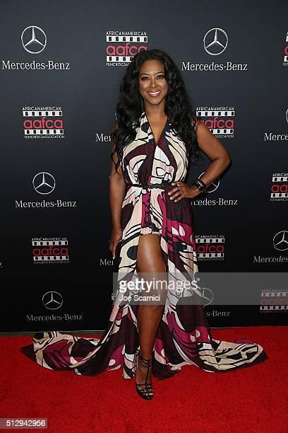 Kenya Moore arrives at the MercedesBenz and African American Film Critics Association Oscar viewing party at Four Seasons Hotel Beverly Hills on...