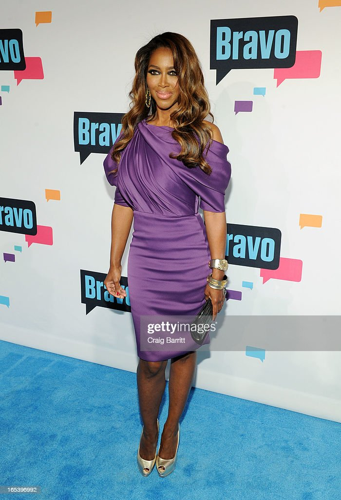 Kenya Moore attends the 2013 Bravo New York Upfront at Pillars 37 Studios on April 3, 2013 in New York City.