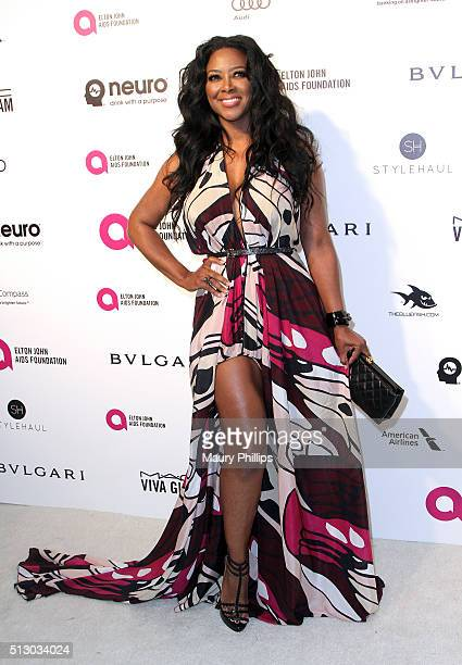 Kenya Moore attends the 24th Annual Elton John AIDS Foundation's Oscar Viewing Party Arrivals on February 28 2016 in West Hollywood California
