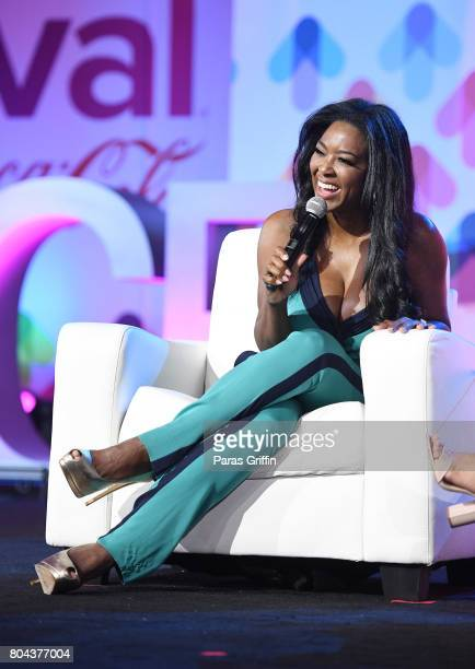 Kenya Moore speaks onstage at the 2017 ESSENCE Festival presented by CocaCola at Ernest N Morial Convention Center on June 30 2017 in New Orleans...