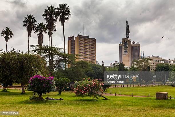 Kenya, Nairobi. Nairobi City skyline from Uhuru Park.