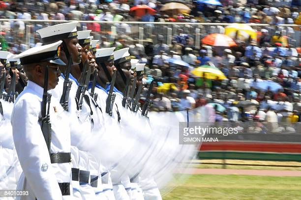 Kenya Navy personel march at the Nyayo National Stadium in Nairobi on December 12 2008 for Jamhuri day the celebration of 45 years of self rule...