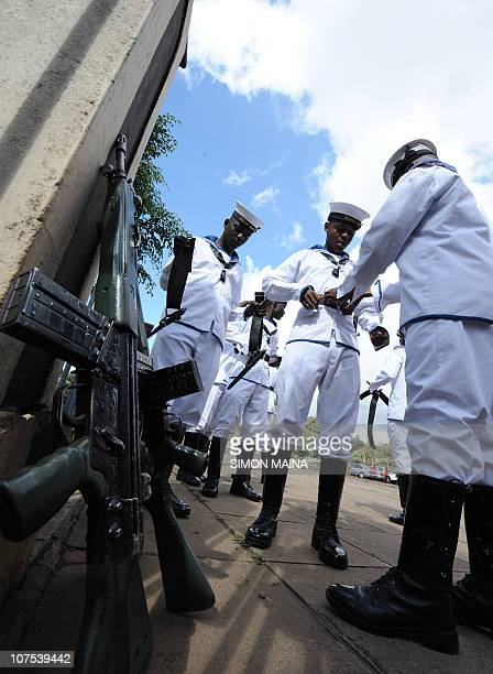 Kenya Navy personnel prepare before their parade for commemorations of Kenya's 47th Independence anniversary on December 12 2010 at the Nyayo...