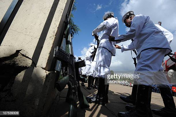 Kenya Navy personnel prepare to mark 47th Jamhuri day on December 12 2010 at the Nyayo national stadium in Nairobi the day Kenya was established as a...