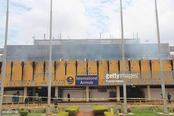 NAIROBI Kenya Photo shows a smoking building at Jomo Kenyatta International Airport in Nairobi Kenya on Aug 8 a day after a fire tore through the...
