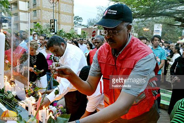 Kenya Redcross Secretary General Abas Gullet at a vigil for the Westgate Terror attack victims on September 27 2013 outside Westgate Mall in Nairobi...