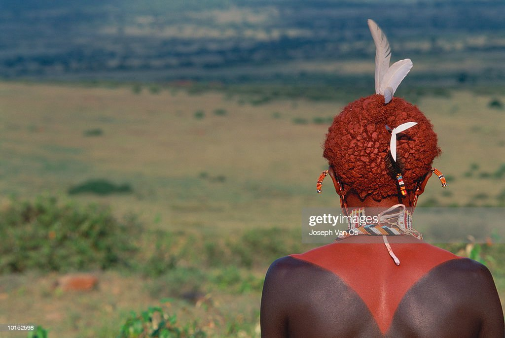 Kenya, Samburu Moran warrior, rear view : Stockfoto