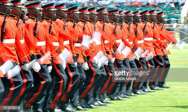 Kenya security forces march during commemorations of Kenya's 47th Independence anniversary on December 12 2010 at the Nyayo national stadium in...