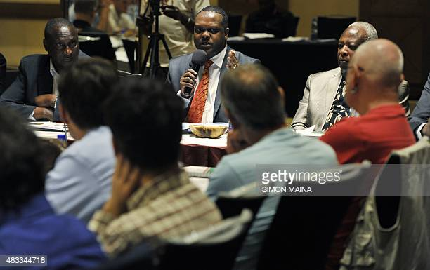 Kenya Sports Cabinet Secretary Hassan Wario speaks during an antidoping meeting on February 13 2015 with atheletic's agents in Nairobi Kenya has...