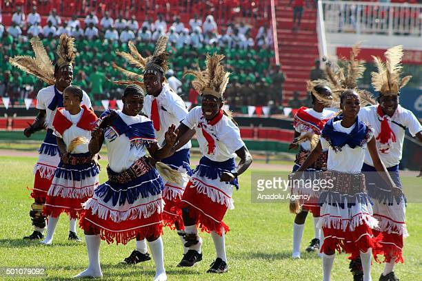 Kenya traditional dancers perform during the celebrations of Jamhuri Day at Nyayo National Stadium in Nairobi Kenya on December 12 2015 Jamhuri Day...