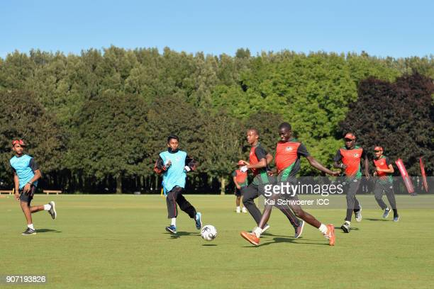Kenya warm up prior to the ICC U19 Cricket World Cup match between the West Indies and Kenya at Lincoln Oval on January 20 2018 in Christchurch New...