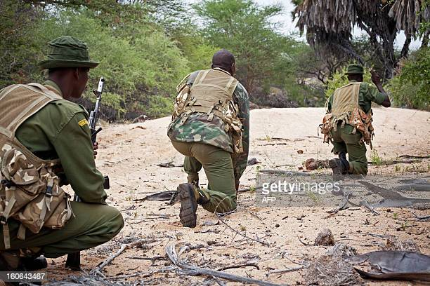 Kenya Wildlife Service antipoaching squad perform a patrol in serach of poachers and displaced elephants through the Kora National Park on January 30...