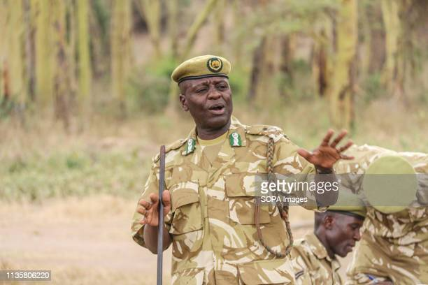 Kenya Wildlife Service assistant director in charge of Central Rift Valley region Aggrey Maumo is seen giving a speech during World Environment...