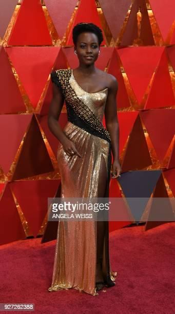 Kenyan actress Lupita Nyong'o arrives for the 90th Annual Academy Awards on March 4 in Hollywood California / AFP PHOTO / ANGELA WEISS