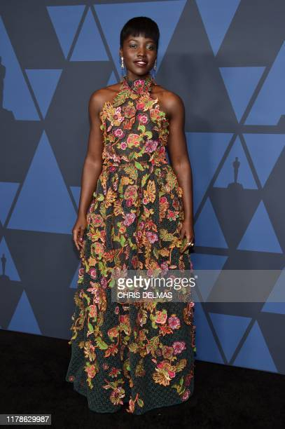 Kenyan actress Lupita Nyong'o arrives to attend the 11th Annual Governors Awards gala hosted by the Academy of Motion Picture Arts and Sciences at...