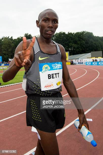 Kenyan athlete Nicholas Bett celebrates after winning the men's 3000m steeple at the 13th edition of the KBC Night of Athletics event in...