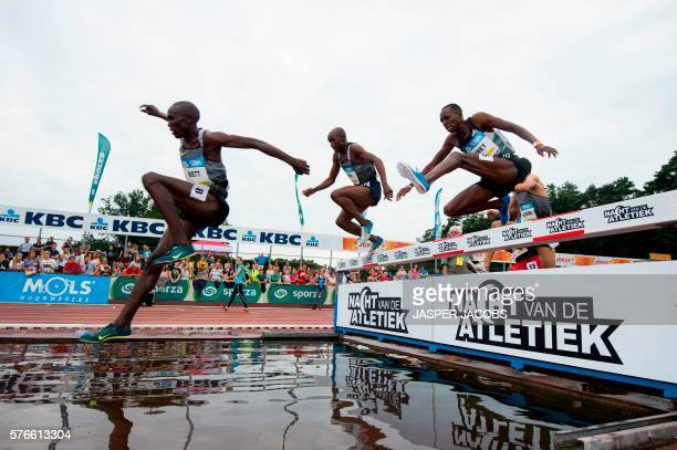 Kenyan athlete Nicholas Bett competes to win the men's 3000m steeple at the 13th edition of the KBC Night of Athletics event in HeusdenZolder on July...