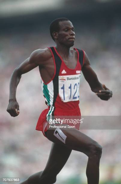 Kenyan athlete Nixon Kiprotich pictured in action during competition to finish in second place to win the silver medal in the final of the Men's 800...