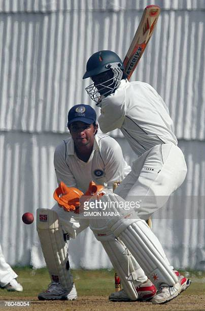 Kenyan batsman Nehemiah Odhiambo bats against India A 10 August 2007 during their threeday match at Mombasa Sports Club Odhiambo was caught out for...