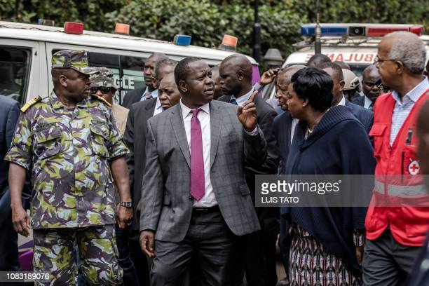 Kenyan Cabinet Secretary for Internal Security Fred Okengo Matiang'i arrives on the scene of the terrorist attack at the hotel complex in Nairobi's...