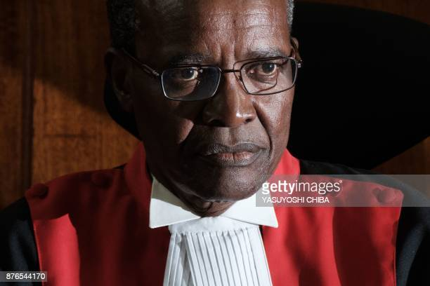 Kenyan Chief Justice David Maraga looks on as the Kenya's Supreme Court on November 20 2017 dismissed two petitions to overturn the country's October...