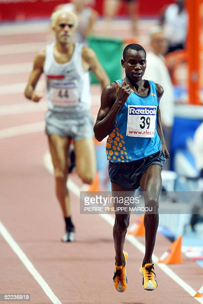 Kenyan Daniel Kipchirchir leads the 1500 m race ahead Spain's Reyes Estevez during the XVIII International Indoor Athletics Memorial Jose Maria...