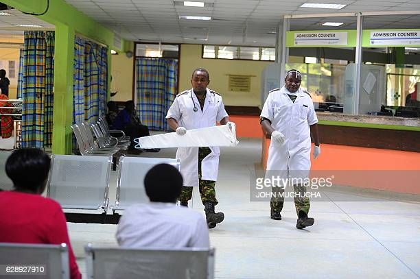 Kenyan Defence force {KDF} Doctors are seen inside Kenyatta National Hospital on December2016 in Nairobi Kenya deployed army doctors on Friday to the...