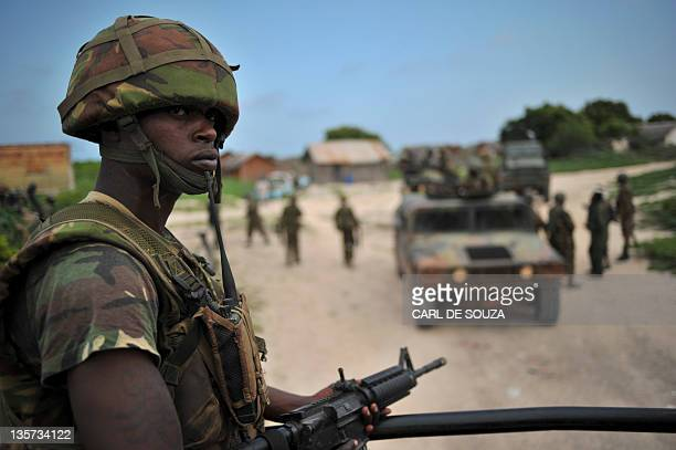 A Kenyan Defence Force soldier is pictured in Ras Kamboni southern Somalia on December 13 2011 Members of the international media were invited by the...