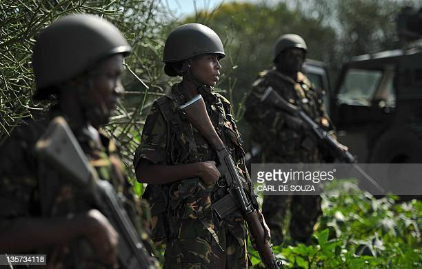 A Kenyan Defence Force soldiers are pictured in Ras Kamboni southern Somalia on December 13 2011 Members of the international media were invited by...