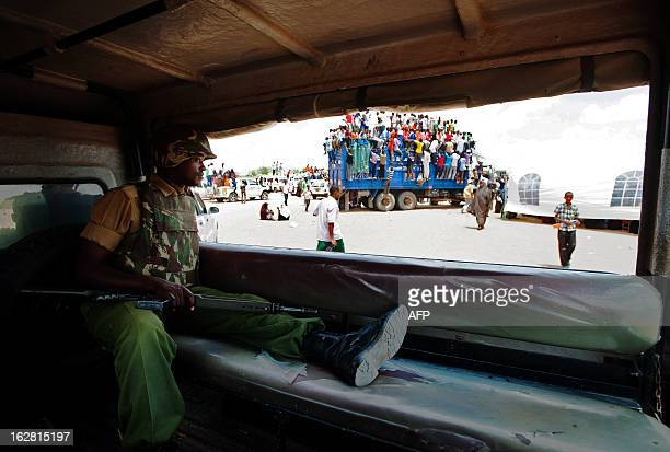 A Kenyan Defence Forces soldier is pictured during an ODM/CORD coalition rally in Garissa on February 27 2013 Garissa in Eastern Kenya has seen...