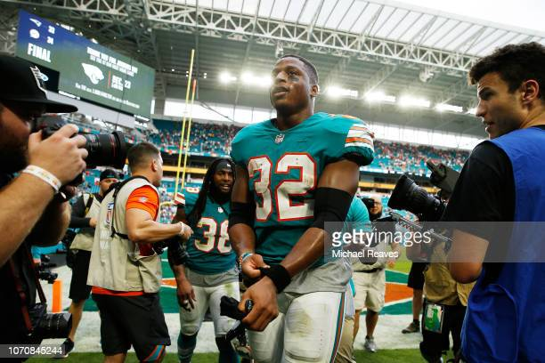 Kenyan Drake of the Miami Dolphins after defeating the New England Patriots 3433 at Hard Rock Stadium on December 9 2018 in Miami Florida