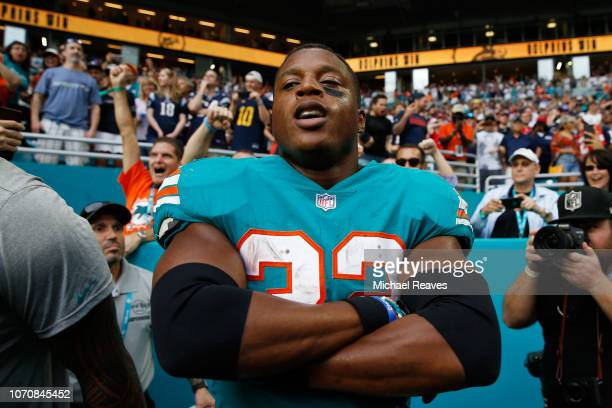 Kenyan Drake of the Miami Dolphins celebrates after scoring the game winning touchdown against the New England Patriots at Hard Rock Stadium on...