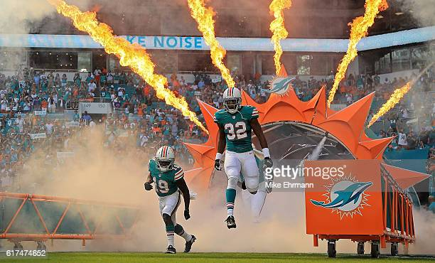 Kenyan Drake of the Miami Dolphins takes the field during a game against the Buffalo Bills on October 23 2016 in Miami Gardens Florida