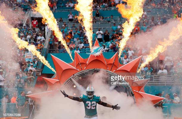 Kenyan Drake of the Miami Dolphins takes the field for their game against the New England Patriots at Hard Rock Stadium on December 9 2018 in Miami...